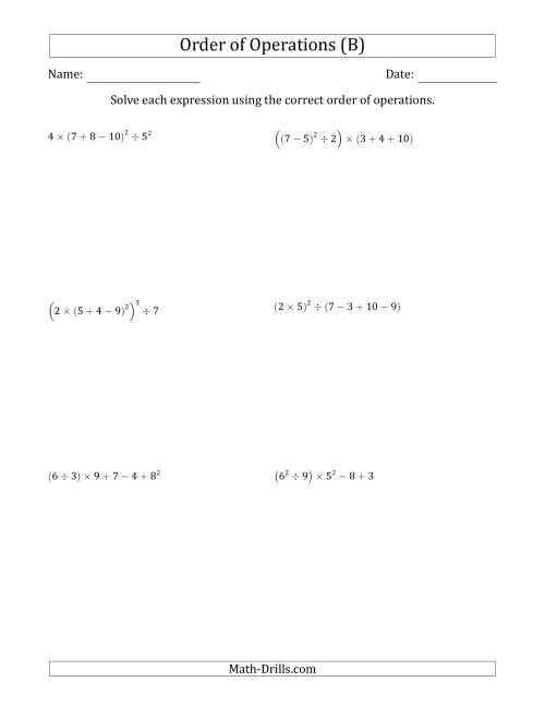 The Order of Operations with Whole Numbers (Six Steps) (B) Math Worksheet