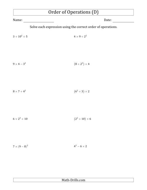 The Order of Operations with Whole Numbers (Three Steps) (D) Math Worksheet