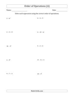 Mixed Operations Math Worksheets
