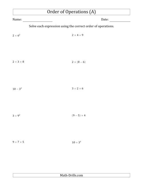 The Order of Operations with Whole Numbers (Two Steps) (A) Math Worksheet