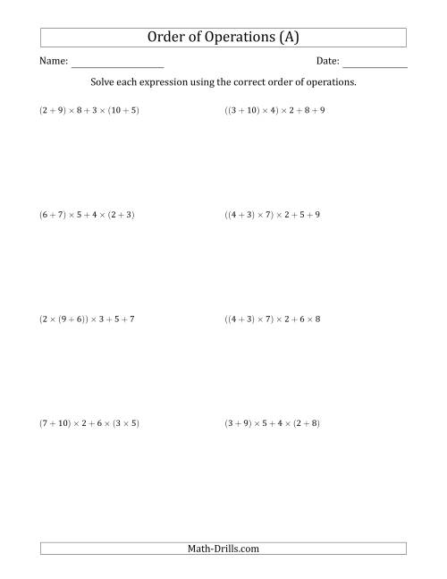 The Order of Operations with Whole Numbers Multiplication and Addition Only (Five Steps) (A) Math Worksheet