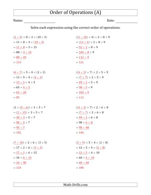 The Order of Operations with Whole Numbers Multiplication and Addition Only (Five Steps) (A) Math Worksheet Page 2