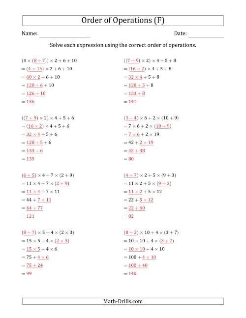 The Order of Operations with Whole Numbers Multiplication and Addition Only (Five Steps) (F) Math Worksheet Page 2