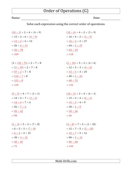 The Order of Operations with Whole Numbers Multiplication and Addition Only (Five Steps) (G) Math Worksheet Page 2
