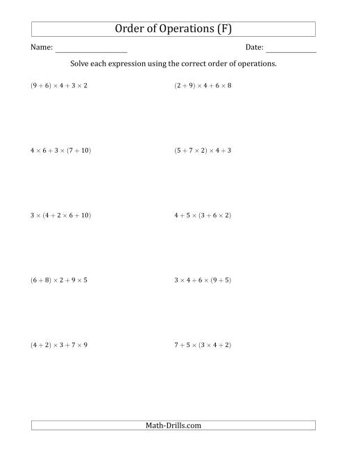 The Order of Operations with Whole Numbers Multiplication and Addition Only (Four Steps) (F) Math Worksheet