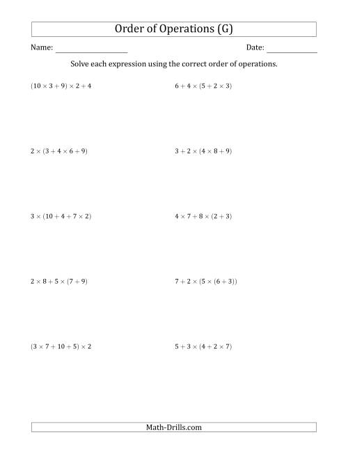 The Order of Operations with Whole Numbers Multiplication and Addition Only (Four Steps) (G) Math Worksheet