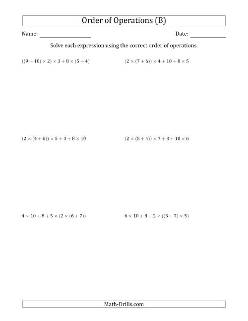 The Order of Operations with Whole Numbers Multiplication and Addition Only (Six Steps) (B) Math Worksheet