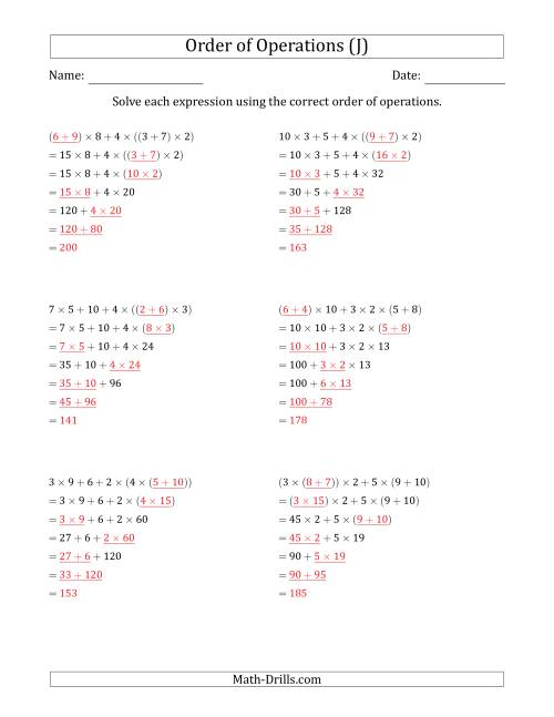 The Order of Operations with Whole Numbers Multiplication and Addition Only (Six Steps) (J) Math Worksheet Page 2