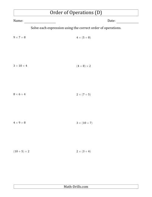 The Order of Operations with Whole Numbers Multiplication and Addition Only (Two Steps) (D) Math Worksheet