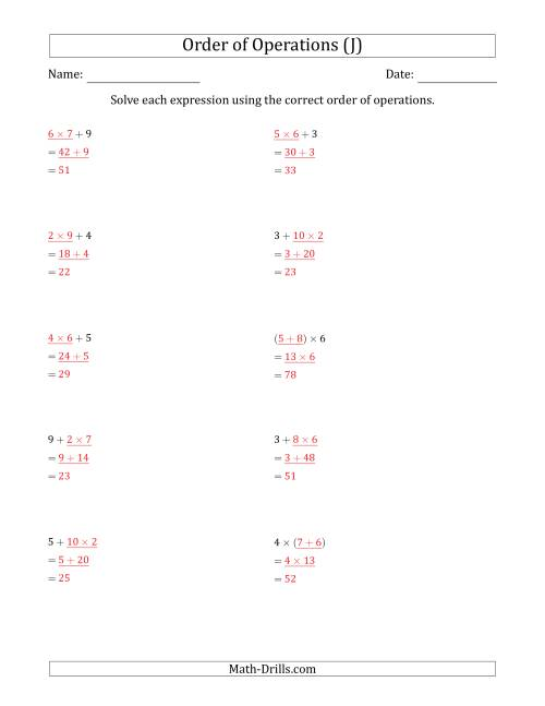 The Order of Operations with Whole Numbers Multiplication and Addition Only (Two Steps) (J) Math Worksheet Page 2