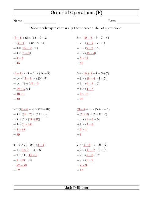 The Order of Operations with Whole Numbers Multiplication, Addition and Subtraction Only (Five Steps) (F) Math Worksheet Page 2