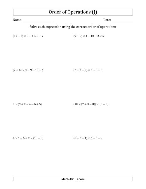 The Order of Operations with Whole Numbers Multiplication, Addition and Subtraction Only (Five Steps) (J) Math Worksheet