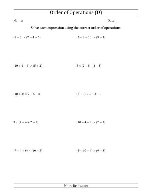 The Order of Operations with Whole Numbers Multiplication, Addition and Subtraction Only (Four Steps) (D) Math Worksheet