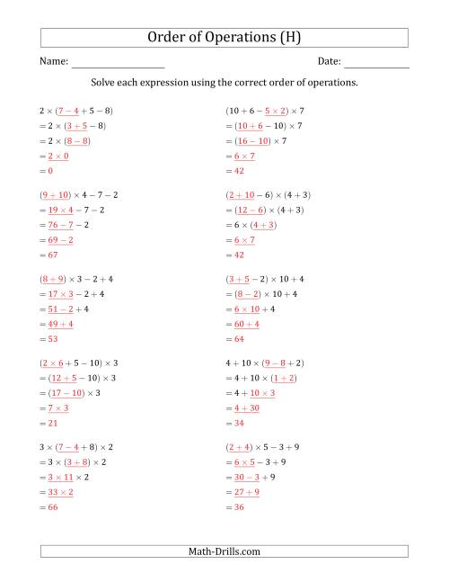 The Order of Operations with Whole Numbers Multiplication, Addition and Subtraction Only (Four Steps) (H) Math Worksheet Page 2