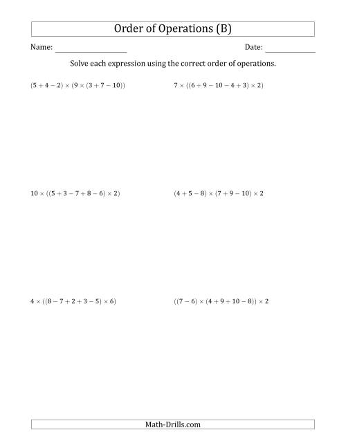 The Order of Operations with Whole Numbers Multiplication, Addition and Subtraction Only (Six Steps) (B) Math Worksheet