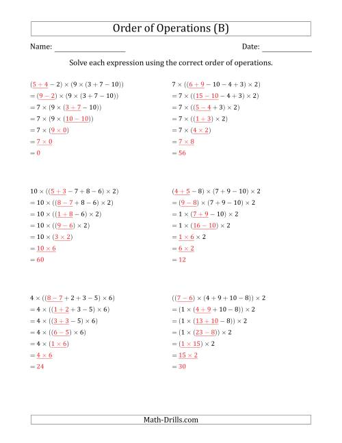 The Order of Operations with Whole Numbers Multiplication, Addition and Subtraction Only (Six Steps) (B) Math Worksheet Page 2