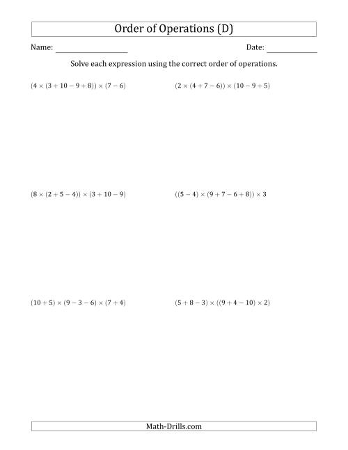 The Order of Operations with Whole Numbers Multiplication, Addition and Subtraction Only (Six Steps) (D) Math Worksheet