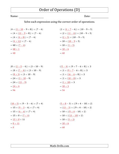 The Order of Operations with Whole Numbers Multiplication, Addition and Subtraction Only (Six Steps) (D) Math Worksheet Page 2