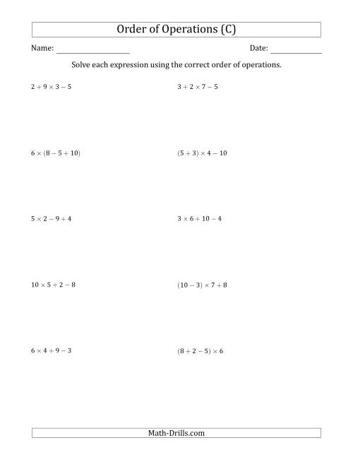 The Order of Operations with Whole Numbers Multiplication, Addition and Subtraction Only (Three Steps) (C) Math Worksheet