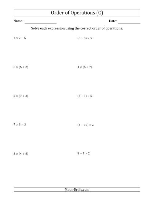 The Order of Operations with Whole Numbers Multiplication, Addition and Subtraction Only (Two Steps) (C) Math Worksheet