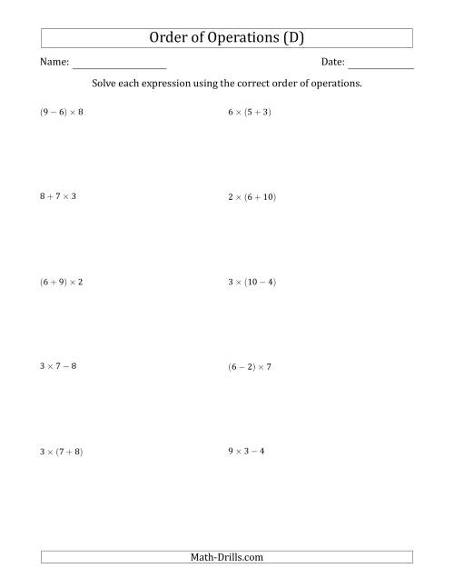 The Order of Operations with Whole Numbers Multiplication, Addition and Subtraction Only (Two Steps) (D) Math Worksheet
