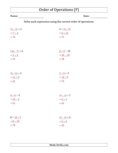 The Order of Operations with Whole Numbers Multiplication, Addition and Subtraction Only (Two Steps) (F) Math Worksheet Page 2