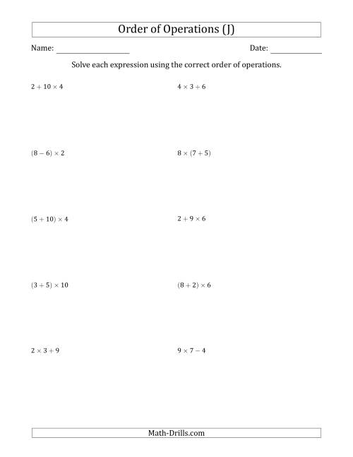 The Order of Operations with Whole Numbers Multiplication, Addition and Subtraction Only (Two Steps) (J) Math Worksheet