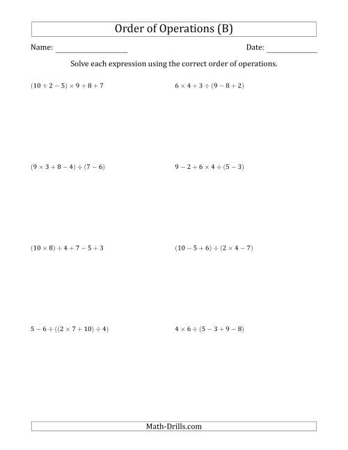 The Order of Operations with Whole Numbers and No Exponents (Five Steps) (B) Math Worksheet