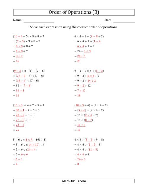 The Order of Operations with Whole Numbers and No Exponents (Five Steps) (B) Math Worksheet Page 2