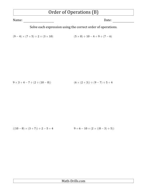 The Order of Operations with Whole Numbers and No Exponents (Six Steps) (B) Math Worksheet