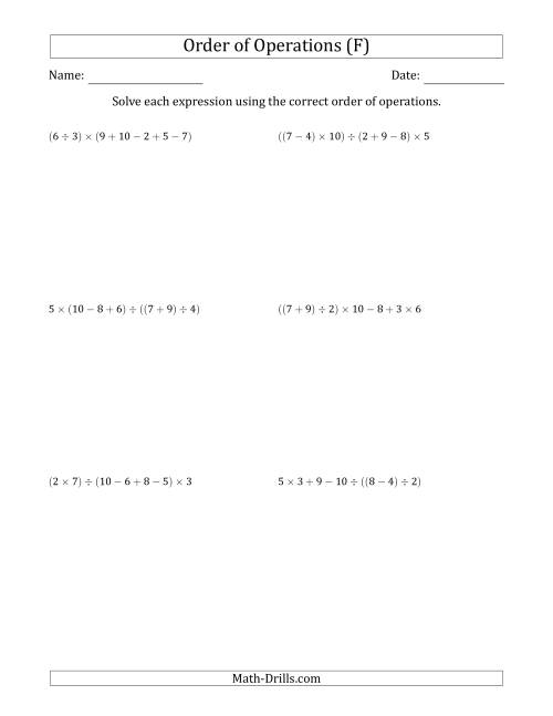 The Order of Operations with Whole Numbers and No Exponents (Six Steps) (F) Math Worksheet