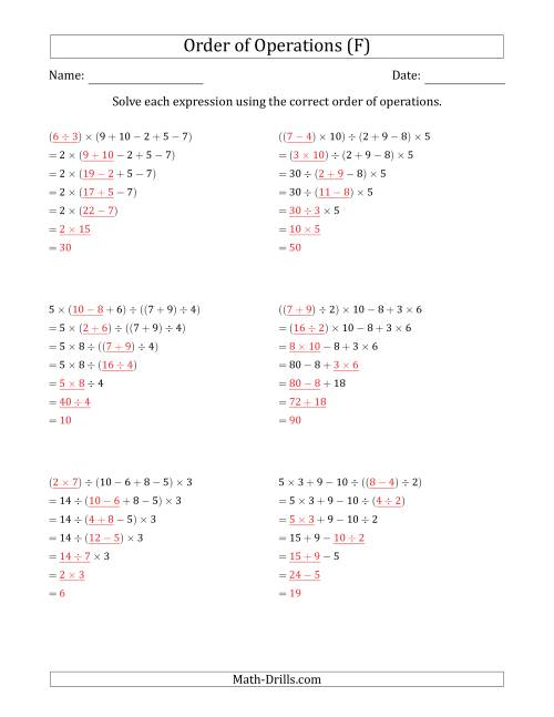 The Order of Operations with Whole Numbers and No Exponents (Six Steps) (F) Math Worksheet Page 2