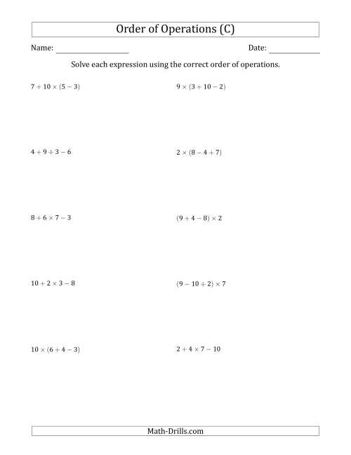 The Order of Operations with Whole Numbers and No Exponents (Three Steps) (C) Math Worksheet