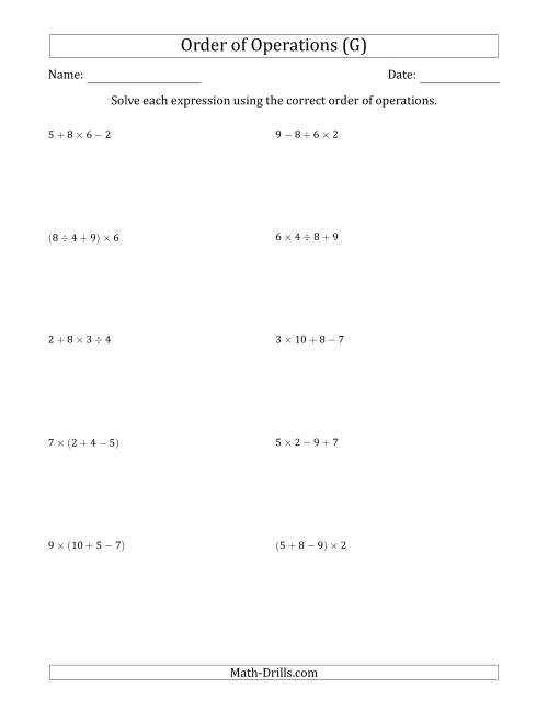 The Order of Operations with Whole Numbers and No Exponents (Three Steps) (G) Math Worksheet