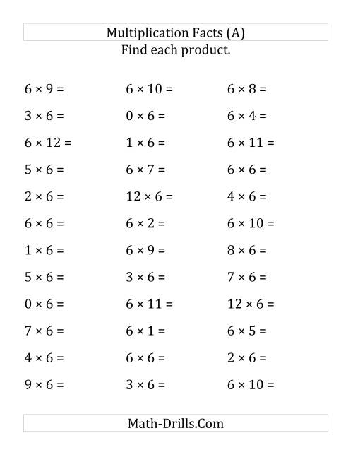 The Multiplying 0 to 12 by 6 (LP) Math Worksheet