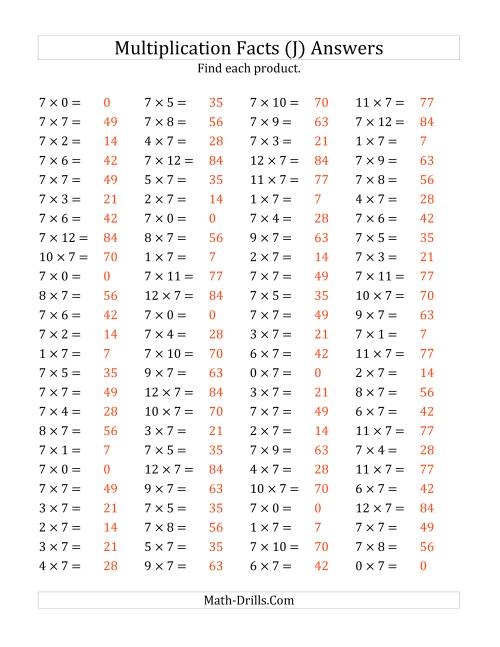 The Multiplying 0 to 12 by 7 (J) Math Worksheet Page 2