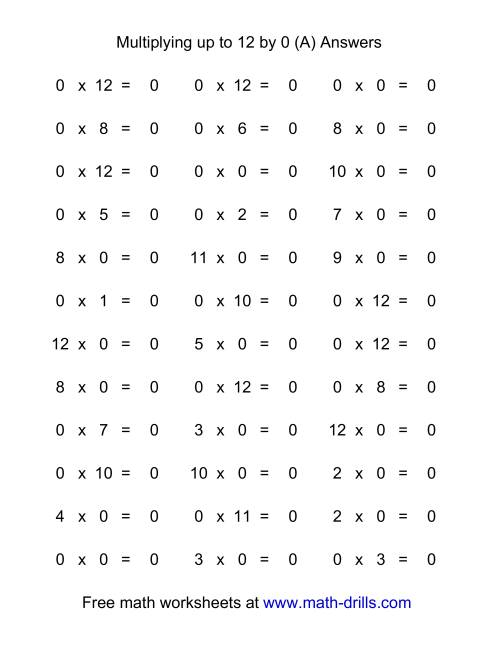 36 Horizontal Multiplication Facts Questions 0 By 0 12 (a) Multiplication By 1 Worksheets Up To 12 Worksheet Page 1 The 36 Horizontal Multiplication Facts Questions 0 By 0 12 (a)