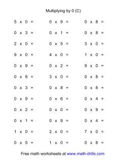36 Horizontal Multiplication Facts Questions -- 0 by 0-9 (C)