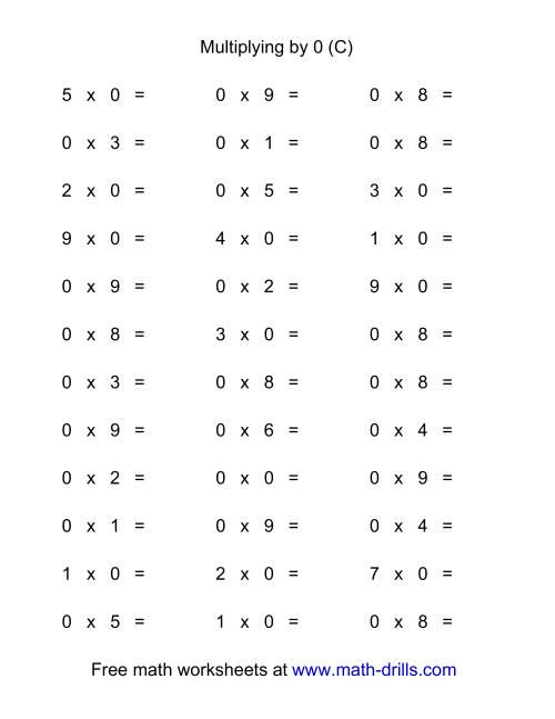 The 36 Horizontal Multiplication Facts Questions -- 0 by 0-9 (C) Multiplication Worksheet