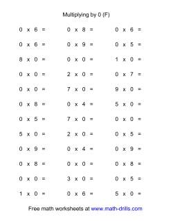36 Horizontal Multiplication Facts Questions -- 0 by 0-9 (F)
