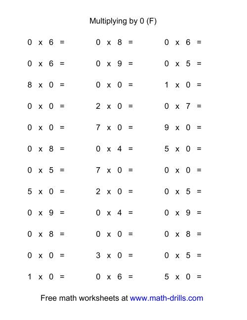 The 36 Horizontal Multiplication Facts Questions -- 0 by 0-9 (F) Multiplication Worksheet