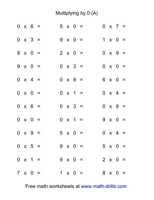 The 36 Horizontal Multiplication Facts Questions -- 0 by 0-9 (All) Math Worksheet