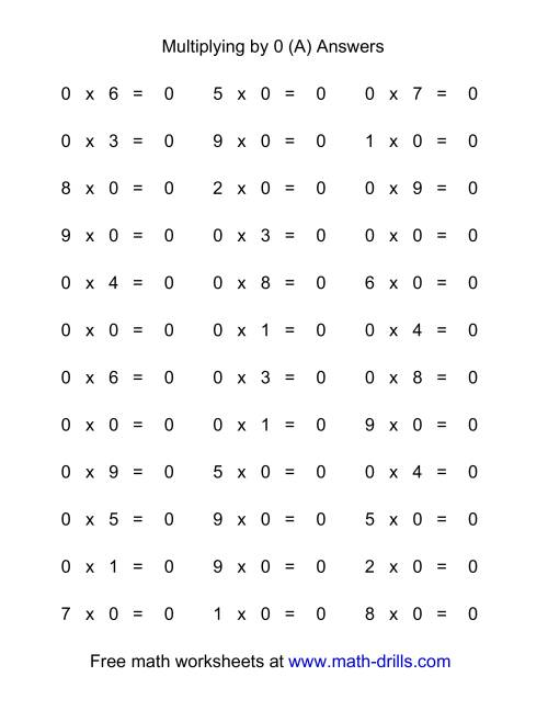 The 36 Horizontal Multiplication Facts Questions -- 0 by 0-9 (All) Math Worksheet Page 2