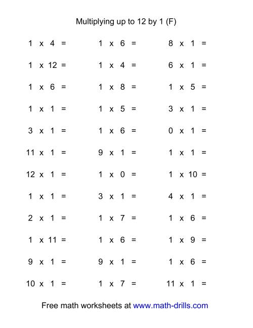 The 36 Horizontal Multiplication Facts Questions -- 1 by 0-12 (F) Multiplication Worksheet