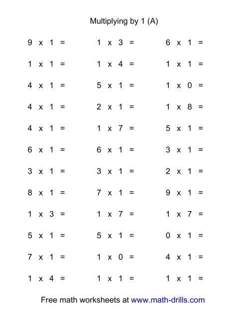 The 36 Horizontal Multiplication Facts Questions -- 1 by 0-9 (A) Math Worksheet