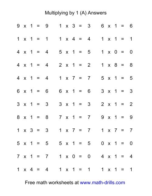 The 36 Horizontal Multiplication Facts Questions -- 1 by 0-9 (A) Math Worksheet Page 2