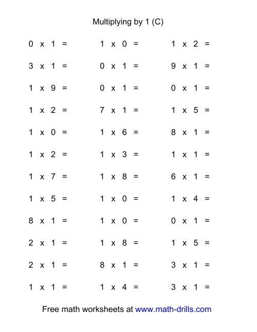 The 36 Horizontal Multiplication Facts Questions -- 1 by 0-9 (C) Math Worksheet
