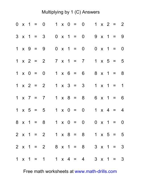 The 36 Horizontal Multiplication Facts Questions -- 1 by 0-9 (C) Math Worksheet Page 2