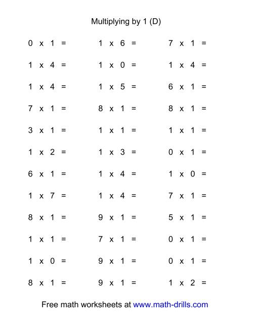 The 36 Horizontal Multiplication Facts Questions -- 1 by 0-9 (D) Math Worksheet