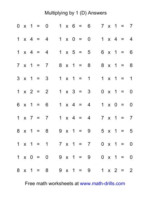 The 36 Horizontal Multiplication Facts Questions -- 1 by 0-9 (D) Math Worksheet Page 2